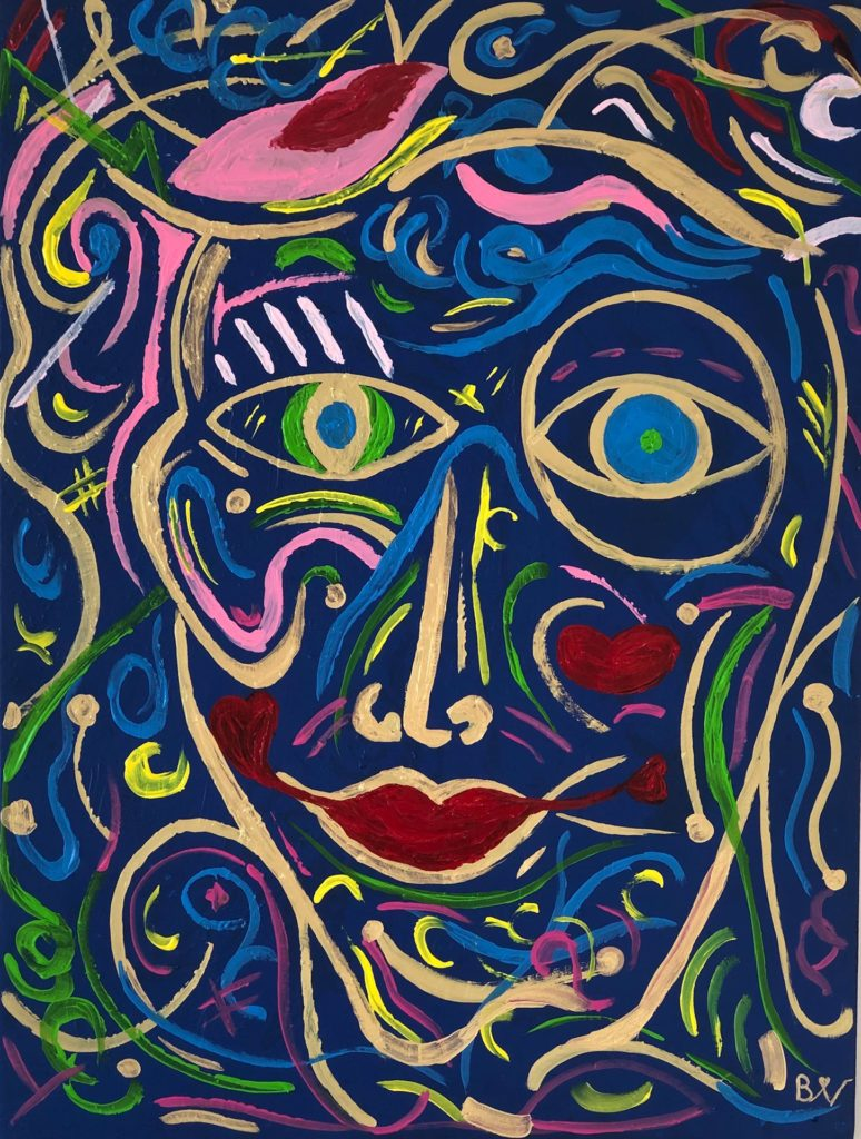"""Biggi Vinci, """"Blue Goldi"""", 60x80, Acryl auf Leinwand"""