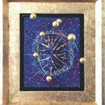 """Biggi Vinci, """"Spaceman"""", 71,5x80,5, mix Media Acryl auf Malplatte mit Kunststoff und vergoldeten Holzrahmen"""