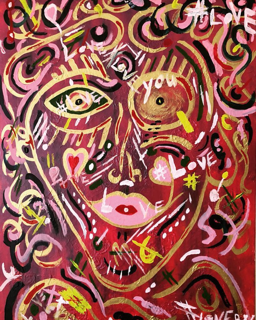 """Biggi Vinci, """"Mr. Lov_e"""", 60x80, Acrylic on canvas, 2020"""