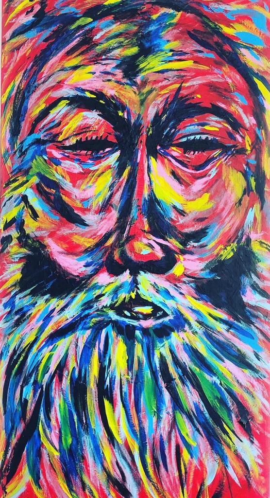 "Biggi Vinci, ""Guru"", 50x100, Acryl auf Holz, 2020"