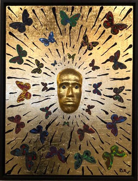"Biggi Vinci, ""Golden man of butterfly"" 65x85, mix media."