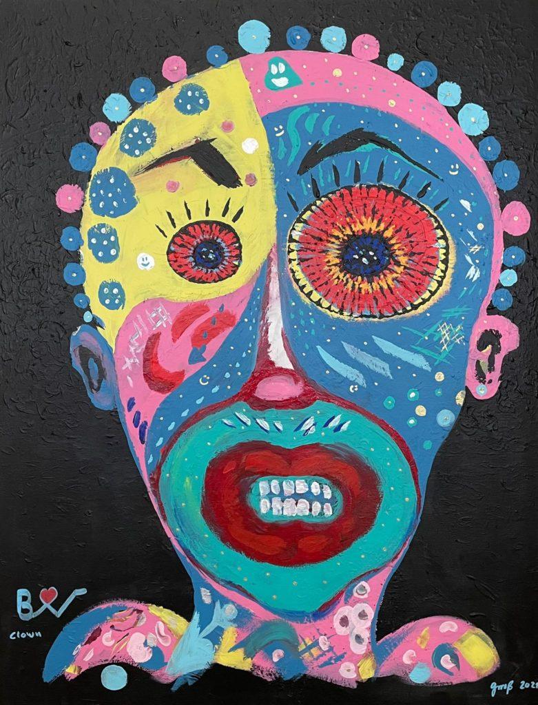 Biggi Vinci, Clown, Acryl auf Leinwand, 2021