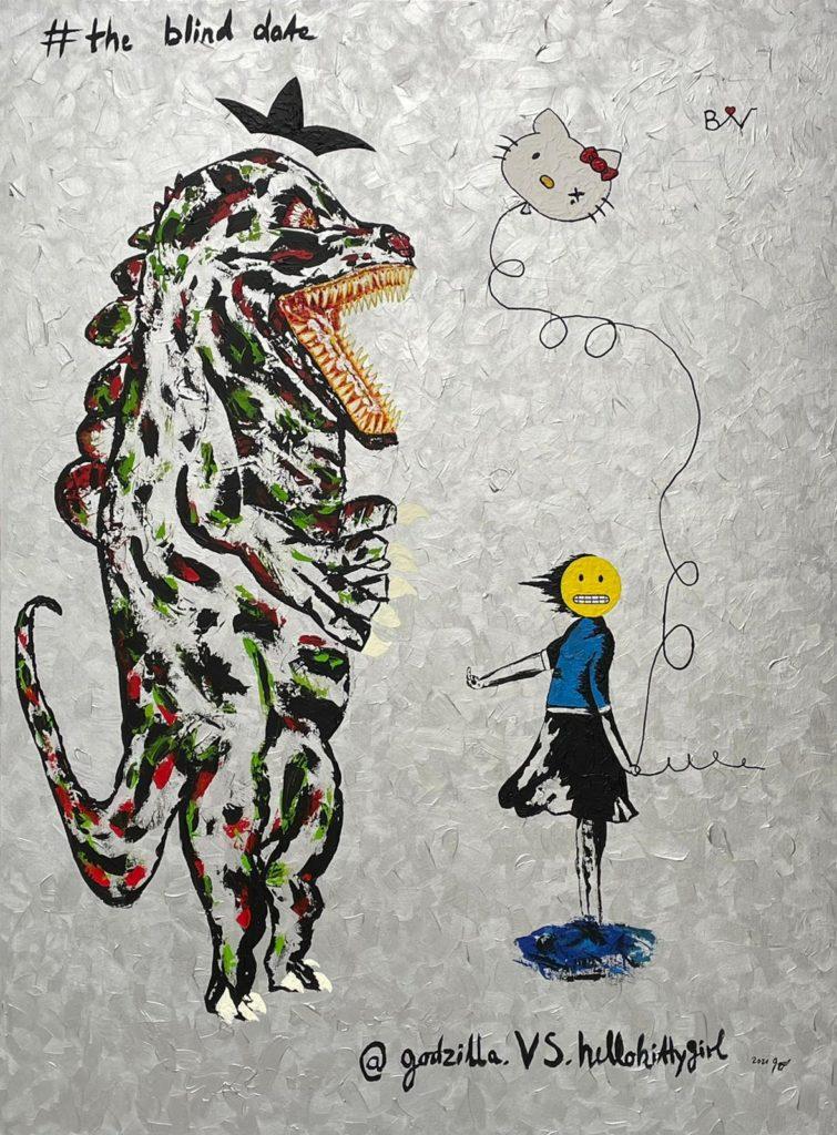 """""""The blind date"""", 160x120 cm, Acryl auf Leinwand, 2021"""